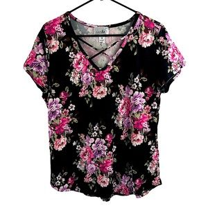 FLORAL black and pink criss cross top size M